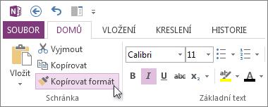 Kopírování formátu textu pomocí nástroje Kopírovat formát