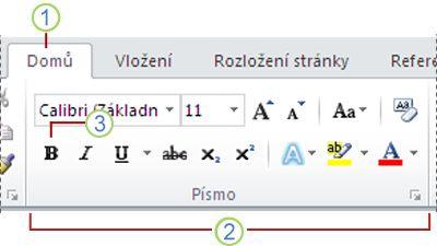 Pás karet aplikace Word 2010