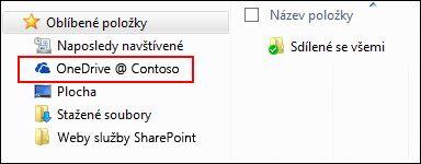 Synchronizovaná knihovna OneDrive pro firmy mezi oblíbenými položkami Windows