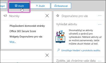 Tlačítko zvýrazněná na Upravit panel na stránce zabezpečení a dodržování předpisů Centrum – Domovská stránka Uložit