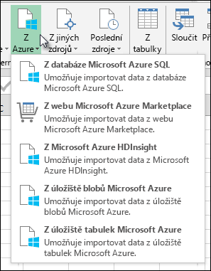 Power Query Import z Azure dialogového okna