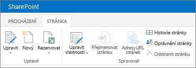 Pás karet SharePointu 2013 v levém horním rohu obrazovky