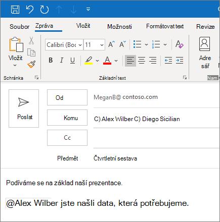 Funkce @zmínit v Outlooku