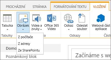 Snímek obrazovky s pásem karet v SharePointu Online. Vyberte kartu Vložit a pak možnost Obrázek. Pak se rozhodněte, jestli chcete nahrát soubor z počítače, webové adresy nebo sharepointového umístění.