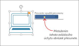 Ovládací úchyt na datovém symbolu