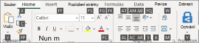 Klávesové zkratky pásu karet aplikace Excel