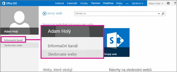 Snímek obrazovky stránky Weby se zvýrazněným odkazem Informační kanál