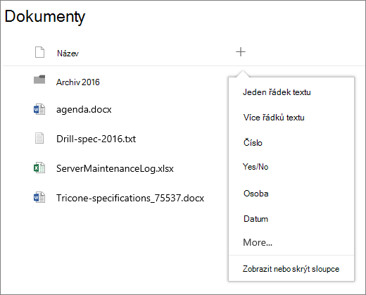 Přidání sloupce ve skupině připojené knihovny dokumentů