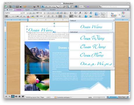 Wordový dokument s pokročilými typografickými nástroji