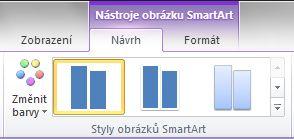 Skupina Styly obrázků SmartArt na kartě Návrh kontextové karty Nástroje obrázku SmartArt