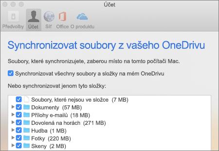 Dialogové okno synchronizace složek pro OneDrive pro Mac
