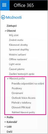 Možnosti hlasové pošty v podokně Možnosti e-mailu aplikace Outlook