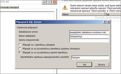Snímek obrazovky s dialogem Připojení k SQL Server, kde můžete vyplnit název databázového serveru SQL Azure a pomocí možnosti Připojit se se zosobněnou vlastní identitou zadat svůj identifikátor aplikace zabezpečeného úložiště přihlašovacích údajů