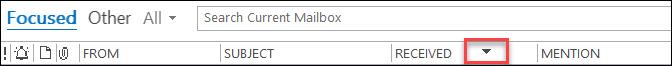 Záhlaví pole v Outlooku