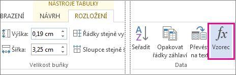 Tlačítko Vzorec na kontextové kartě Nástroje tabulky