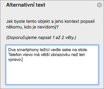 Alternativní text v Outlooku pro Mac