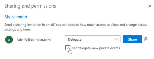 Snímek obrazovky s zaškrtnutí políčka Povolit delegáta zobrazení soukromých událostí