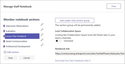 Správa nastavení poznámkové bloky pro pedagogy v Teams společnosti Microsoft.