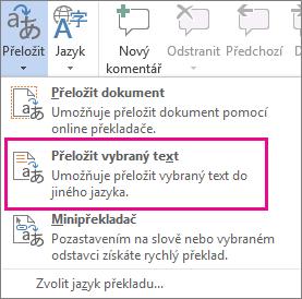 Přeložení vybraného textu