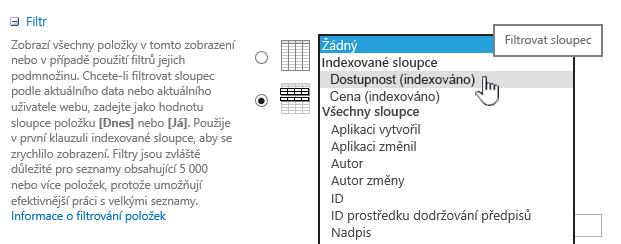 V Sharepointu Online vyberte indexovaném poli