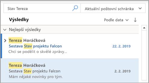 Zobrazuje výsledky hledání v Outlooku.