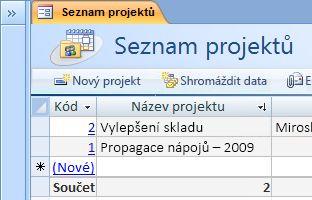 Šablona databáze Projekty
