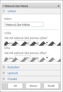 Snímek obrazovky s panelem úprav webové části Multimédia, kde jsou zobrazené některé vlastnosti, které můžete konfigurovat
