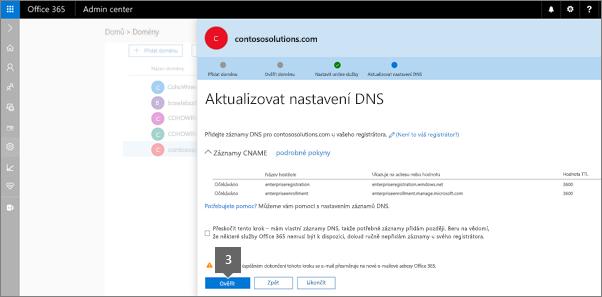 Přejděte zpět na stránce přidat záznamy DNS a klikněte na ověřit