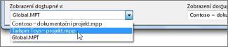 Výběr cílového projektového souboru v Organizátoru v Projectu