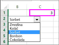 Propojená buňka ukazuje číslo položky, když je položka vybraná.