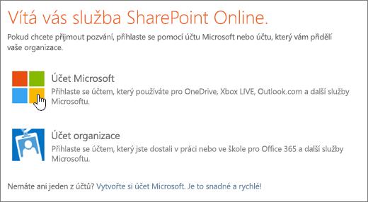 Snímek obrazovky s přihlašovací obrazovkou SharePointu Online