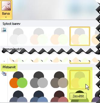 Klikněte na tlačítko Barva a pak v části Přebarvit vyberte Zesvětlit.
