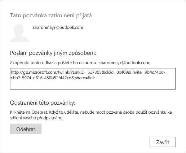 Snímek obrazovky s dialogovým oknem pozvánky čekající na vyřízení s odkazem pro odeslání prostřednictvím e-mailu a tlačítko pro odebrání pozvánky