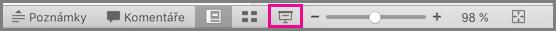 Ikona Prezentace na stavovém řádku PowerPointu pro Mac
