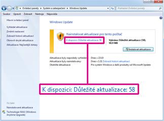Odkazy v podokně Windows Update
