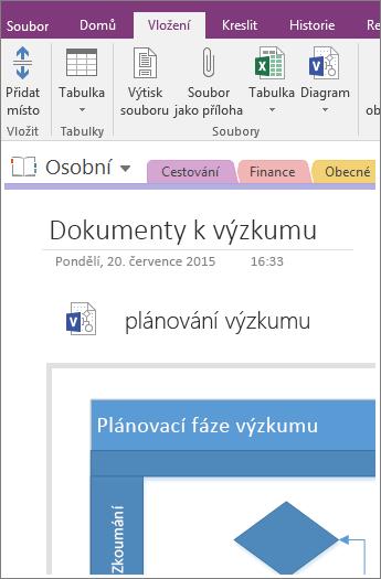 Snímek obrazovky s postupem vložení existujícího diagramu Visia do OneNotu 2016