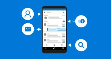 Telefon se 4 ikonami představujícími různé typy dostupných informací