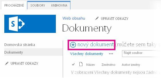 Přetažení souborů do knihovny kliknutím na Přidat