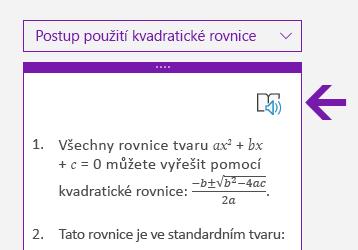 Ikona Moderní čtečky v podokně Matematika ve OneNotu pro Windows 10