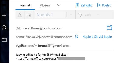Odeslání odkazu na formulář e-mailem