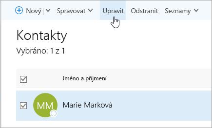 Snímek obrazovky s kurzorem na tlačítku pro úpravy na stránce Lidé