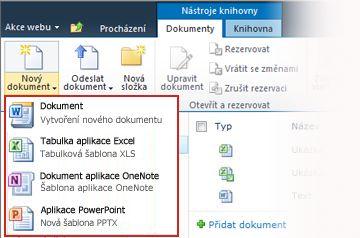 Volba z několika šablon při přidávání nové položky do knihovny