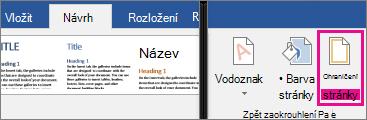 Na kartě Návrh je zvýrazněná ikona Ohraničení stránky.
