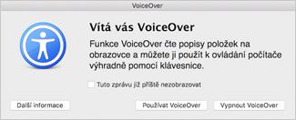 Vypnout nebo zapnout funkci VoiceOver