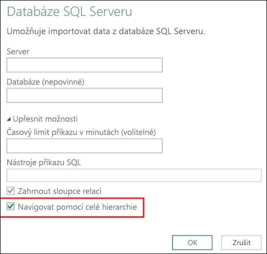 Vylepšené konektory relační databáze v Power BI v Excelu