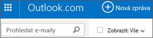 Řádek nabídek Outlook.com