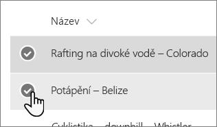 Snímek obrazovky s dvěma vybraného seznamu položek