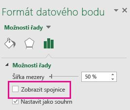 Podokno úloh Formát datového bodu s nezaškrtnutým políčkem Zobrazit spojnice v Office 2016.