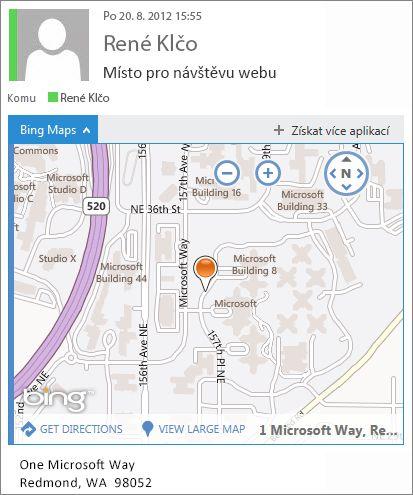 E-mailová zpráva s aplikací Mapy Bing ukazující adresu na mapě