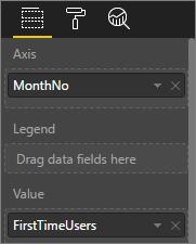Snímek obrazovky ukazující hodnoty přizpůsobené vizualizace